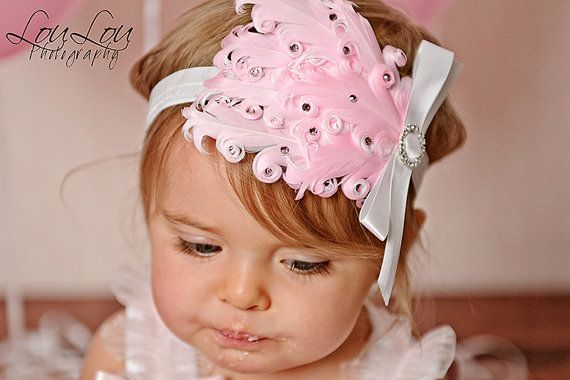 PINK DREAM Gorgeous Feather Pad with by CoutureBabyHeadbands