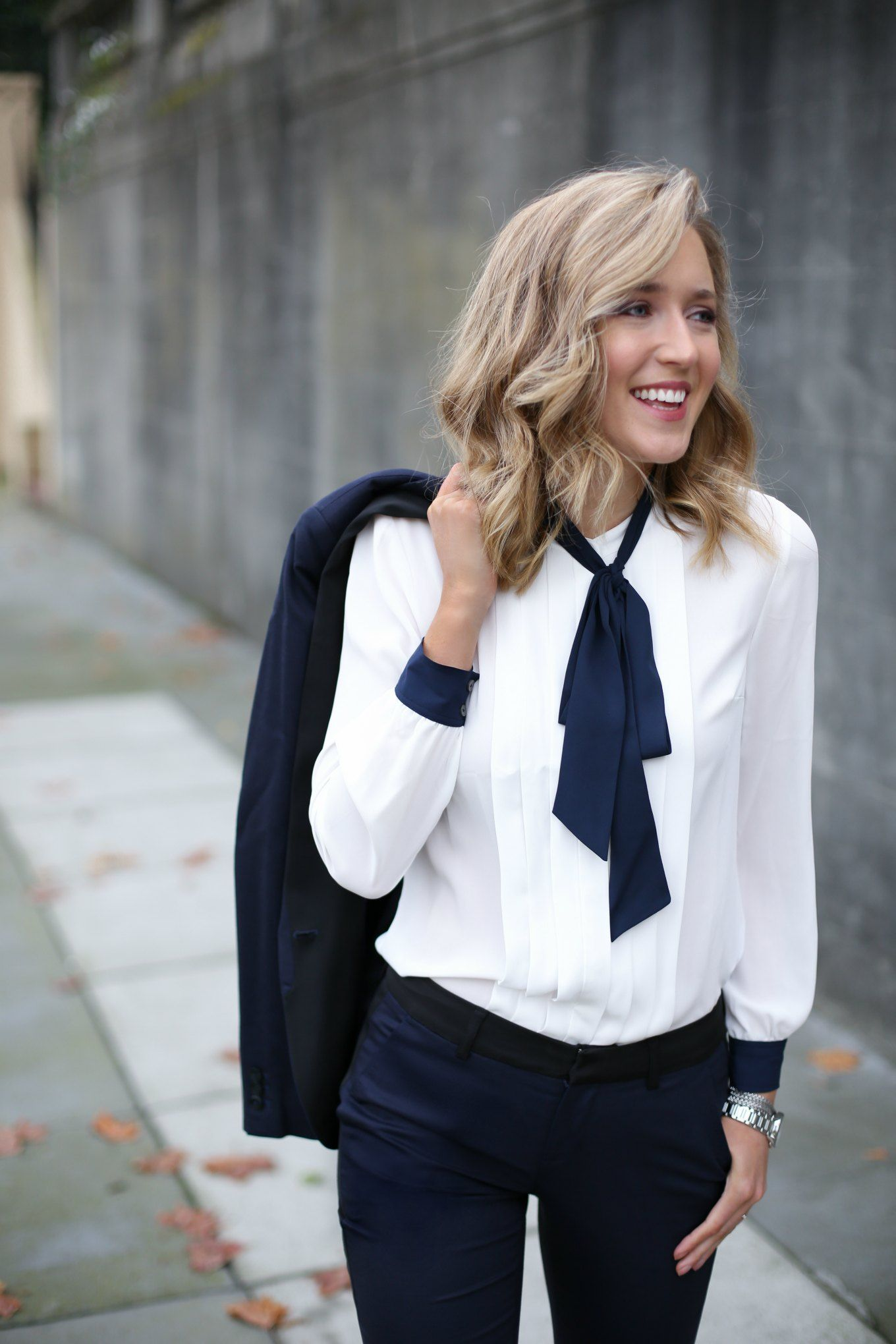navy black women's tuxedo suit ivory navy tie neck blouse ...
