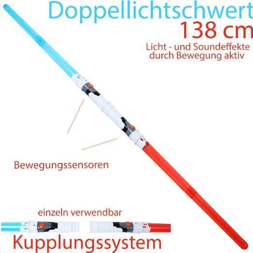 Doppel Lichtschwert Laserschwert Sound-und Lichteffekte durch Bewegungssensor aktiv 138 cm