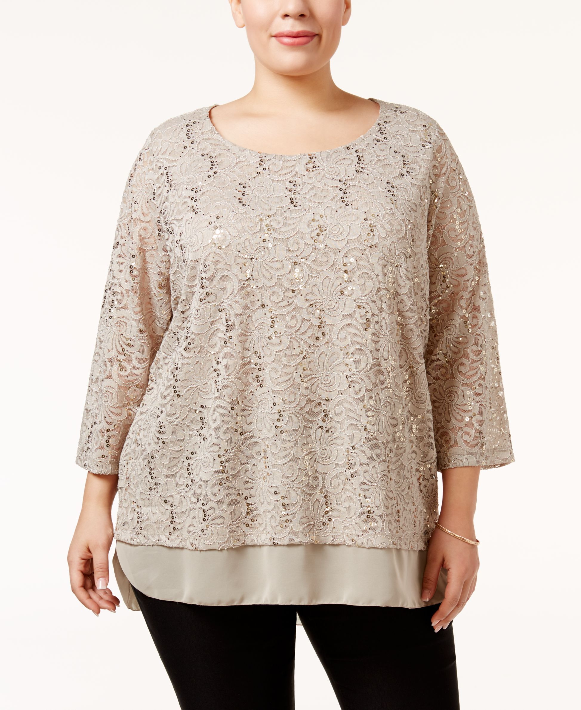 201f2643a97 Jm Collection Plus Size Embellished Lace Tunic