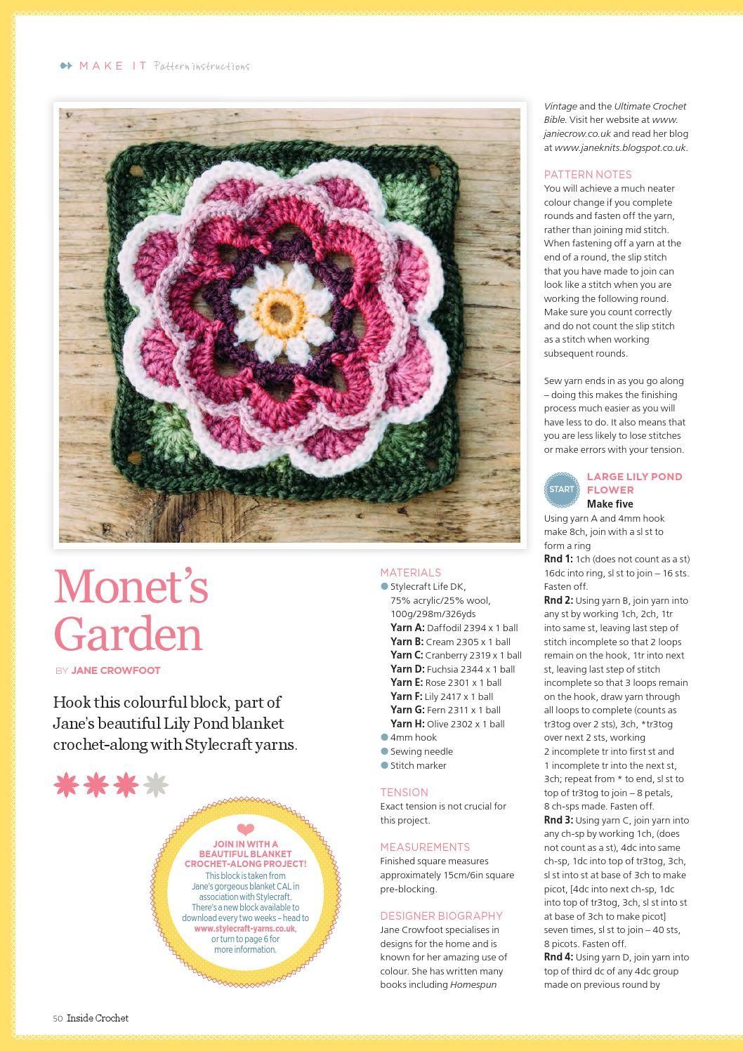 Issuu Inside Crochet Issue 65 2015 By Camelia July Crochet Granny Square Crochet Pattern Crochet Blanket Blocking