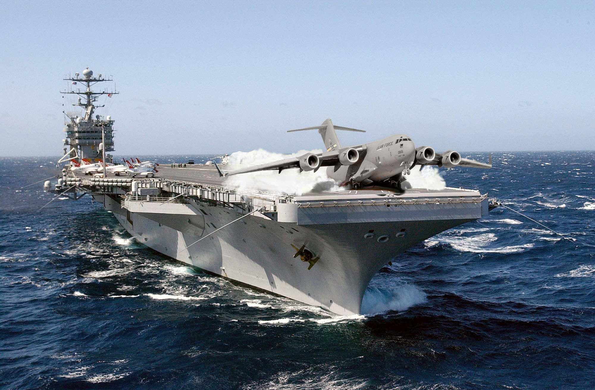 C 17 On Aircraft Carrier Aircraft Carrier USS J...