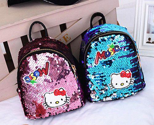 259dfc63e New Women Girl Hello kitty Bags Black Backpack bag Purse Shiny School Bag  2018 #Unbranded