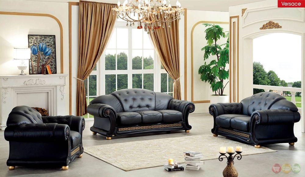 Versace Black Genuine Top Grain Italian Leather Luxurious Living Room Sofa Set Home Garden Living Room Sofa Set Living Room Leather Luxury Sofa Living Room
