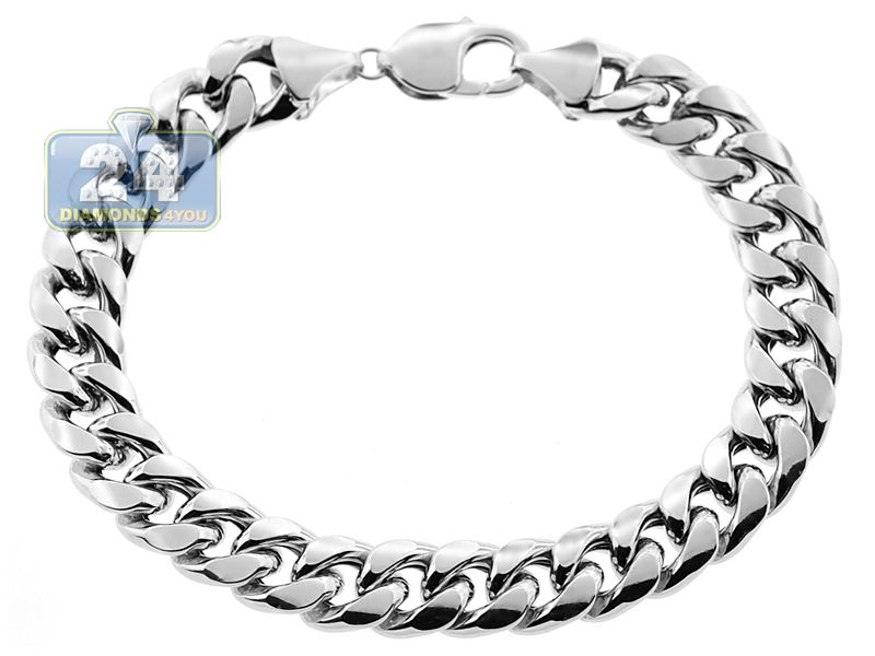 10k White Gold Hollow Miami Cuban Link Mens Bracelet 11mm 9 25 Mens Bracelet Silver Bracelets For Men Miami Cuban Link