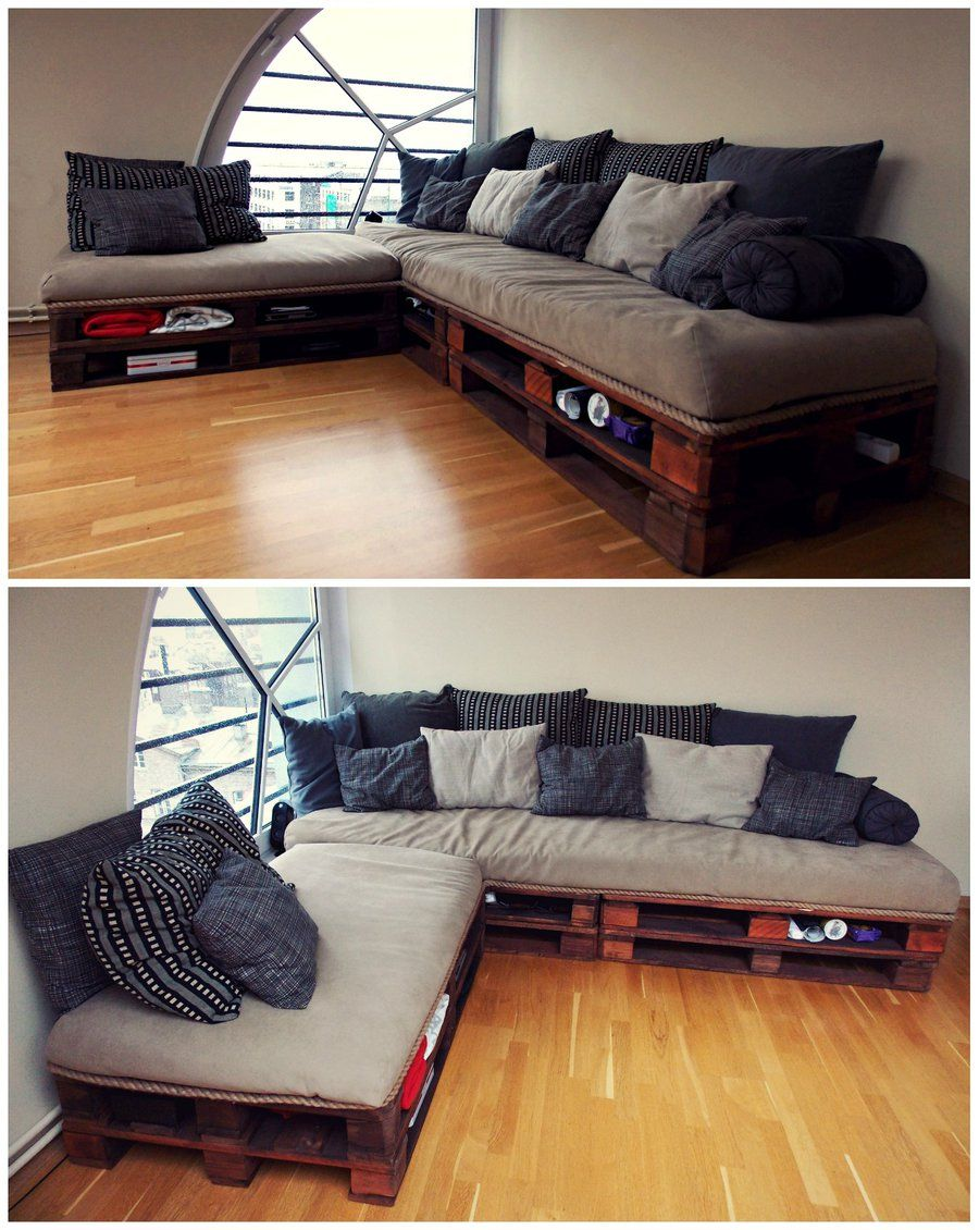 Pallet sectional couch - Awesome Diy Pallet Sofas