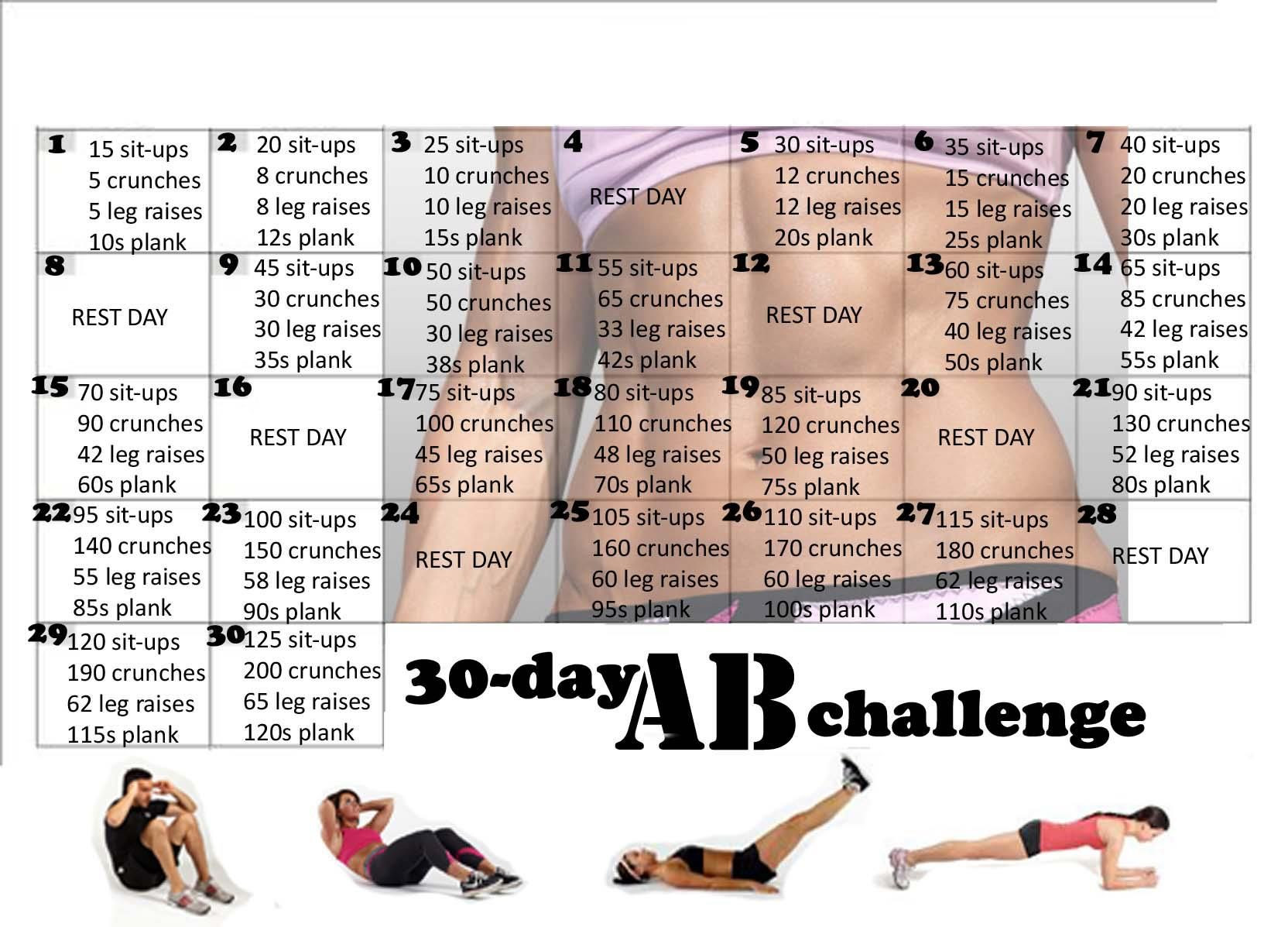 30 day ab challenge ab challenge 30th and workout. Black Bedroom Furniture Sets. Home Design Ideas