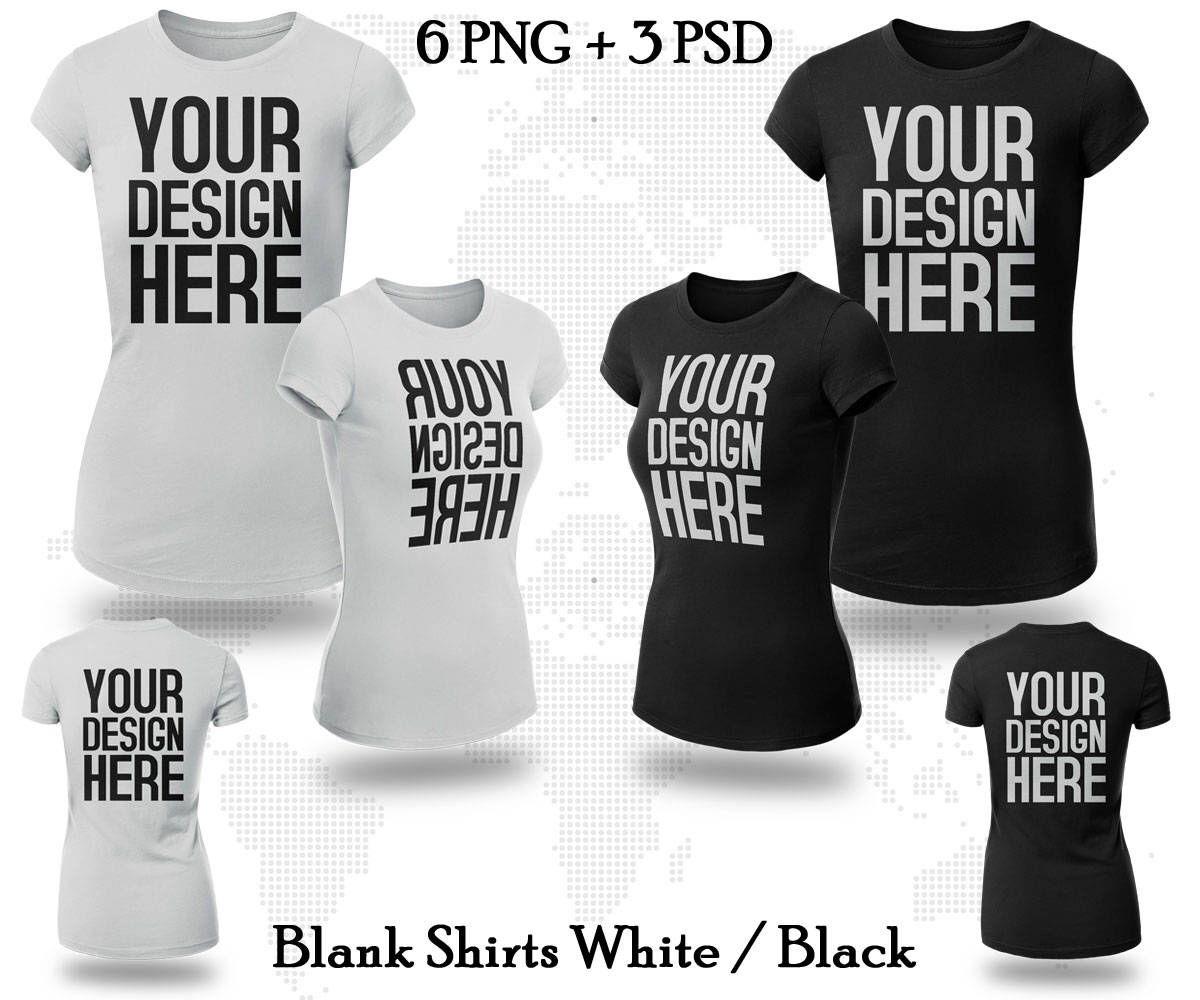 Mockup t shirt black psd - 6 Png 3 Psd Women T Shirt Mock Up Front Back