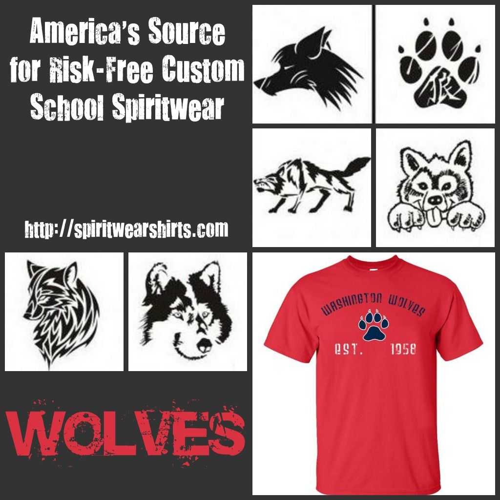 School shirt design your own - Wolves Mascot Graphics And School Shirt Design Used For School Spiritwear Customize Your School
