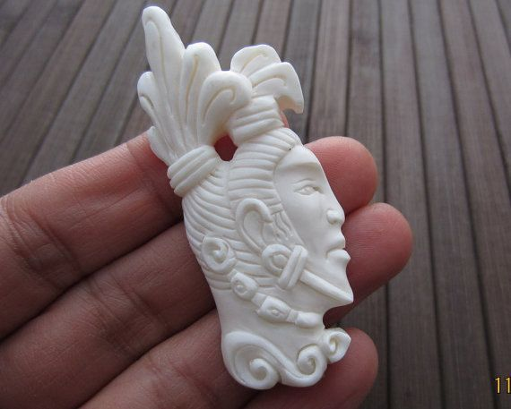 Excellent Quality Carved Buffalo Bone Mayan Tribe Pendant Bead Side Drill Bone Bead Jewelry Making Supplies B4030 Carving Dremel Carving Hand Carved