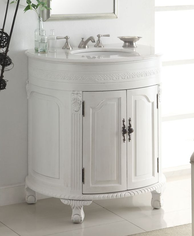 32 Inch Adelina Antique White Single Sink Bathroom Vanity Bathroom Vanity Single Bathroom Vanity White Vanity Bathroom