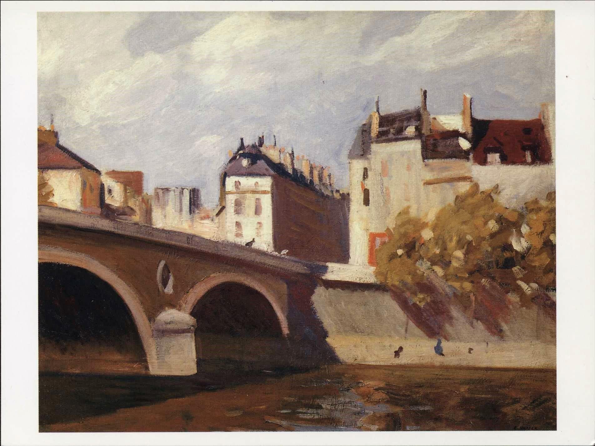 Fine Art Edward Hopper Bridge On The Seine France 1909 Modern