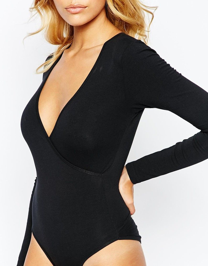 1b28b3141a Image 3 of American Apparel Sexy Plunge Neck Long Sleeve Leotard ...