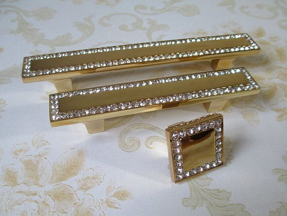 Gold Gl Dresser Pulls Drawer Pull Handles Crystal Cabinet Door Handle Rhinestone Square Clear Modern Furniture S Bling Hardware On Etsy 5 50