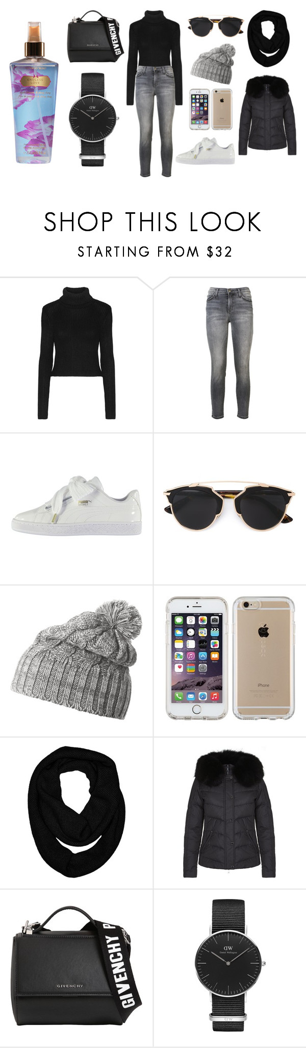 """""""Sans titre #3503"""" by merveille67120 ❤ liked on Polyvore featuring Alice + Olivia, Current/Elliott, Puma, Helly Hansen, Speck, Sofiacashmere, Givenchy, Daniel Wellington and Victoria's Secret"""