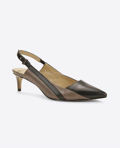 Nia Leather Slingback Kitten Heels  bf76188842c1