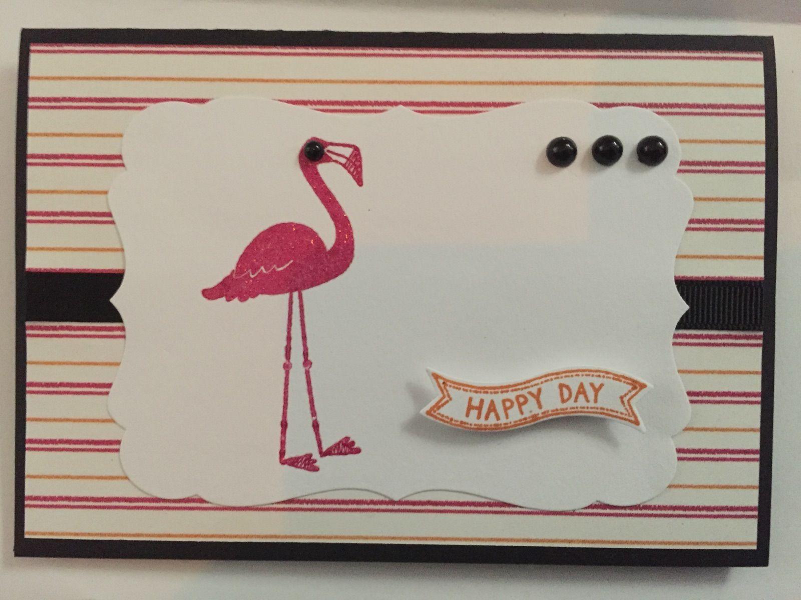 Flamingo birthday card using Stampin Up s Flamingo Lingo and Bitty