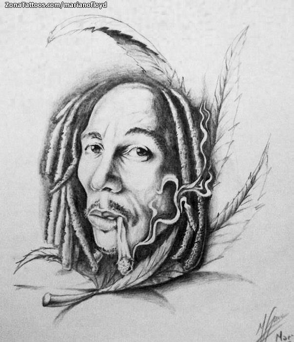 Plantilla Diseño Tatuaje de marianofloyd - Bob Marley Retratos ... 54fd5db2507f8