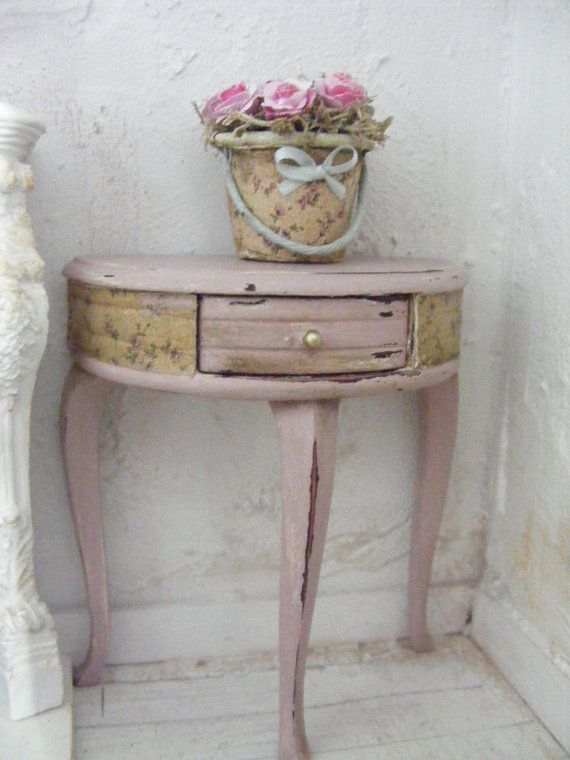 12th Scale Shabby Chic Half Moon Console Table Dolls House Miniature