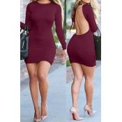 Sexy O Neck Long Sleeves Back Hollow-out Wine Red