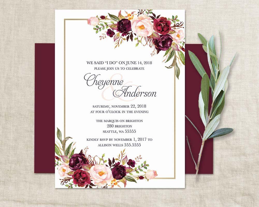Marsala Wedding Reception Only Invitation Bohemian Wedding I DO BBQ ...