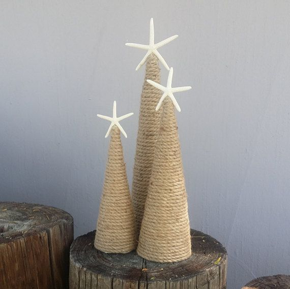 Nautical Rope Starfish Tree Natural Coastal Home Decor Christmas by the Sea Accents Topped w/ White Star Rustic Cottage Style Mantle Display #beachcottagestyle