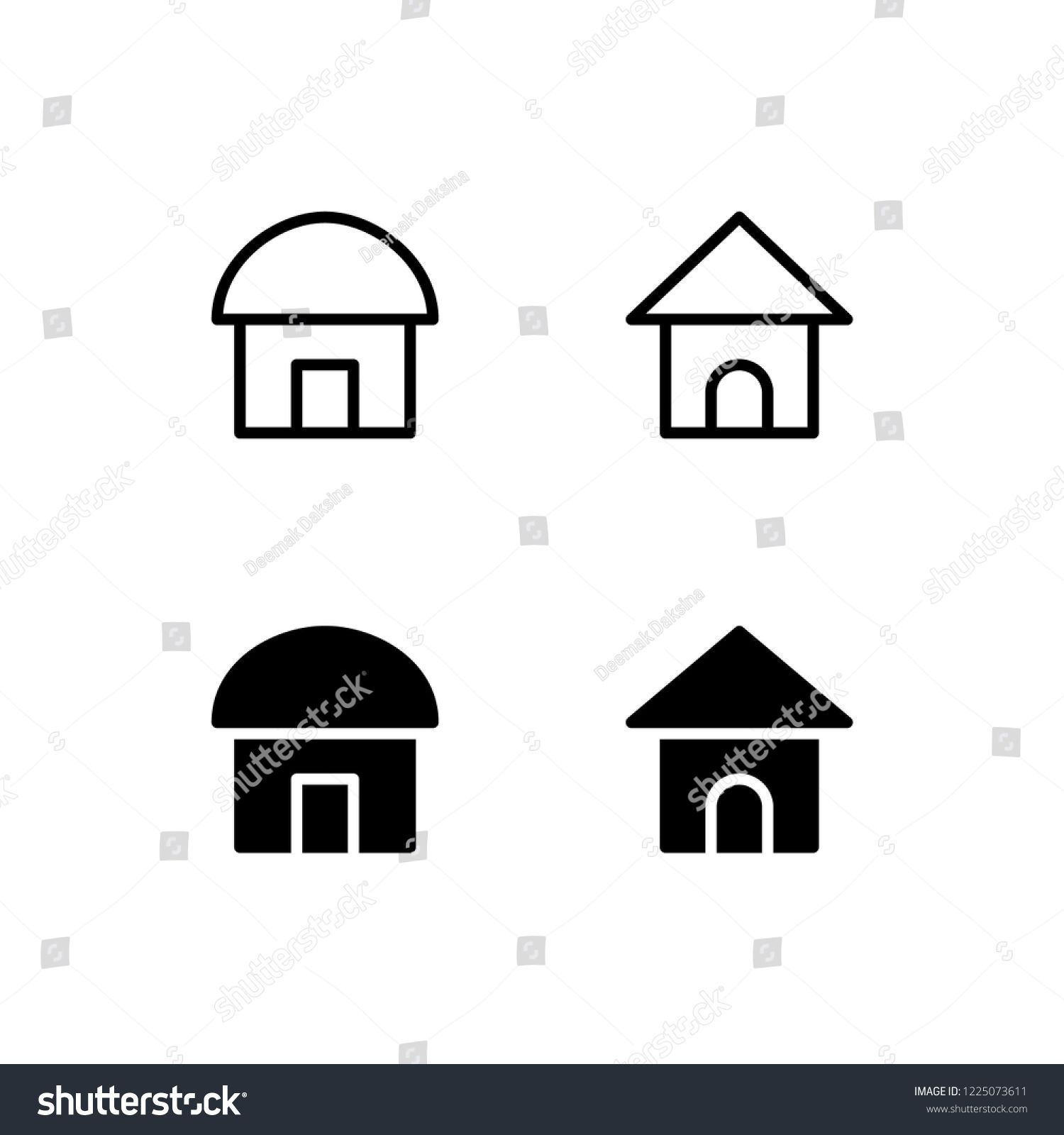 Hut House Logo: Hut Icon Design. Hut, House, Cottage, Shack, Home, Icon