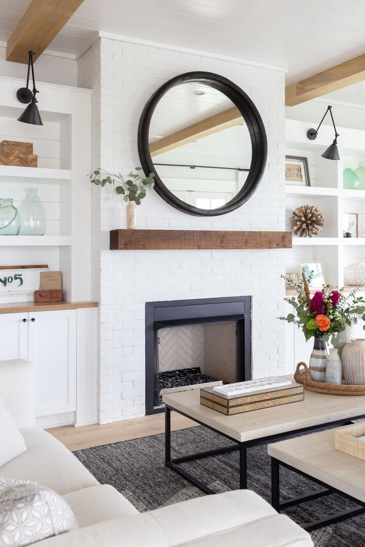 Coastal Modern Farmhouse Living Room Decor With Fireplace
