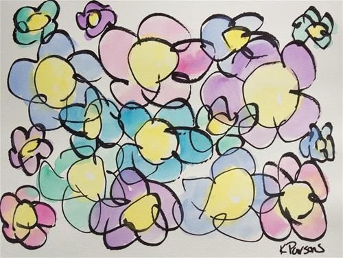 """""""Flowers, Lefty Style"""" - Original Fine Art for Sale - Watercolor and Ink - © Kali Parsons - http://kaliparsons.blogspot.com"""