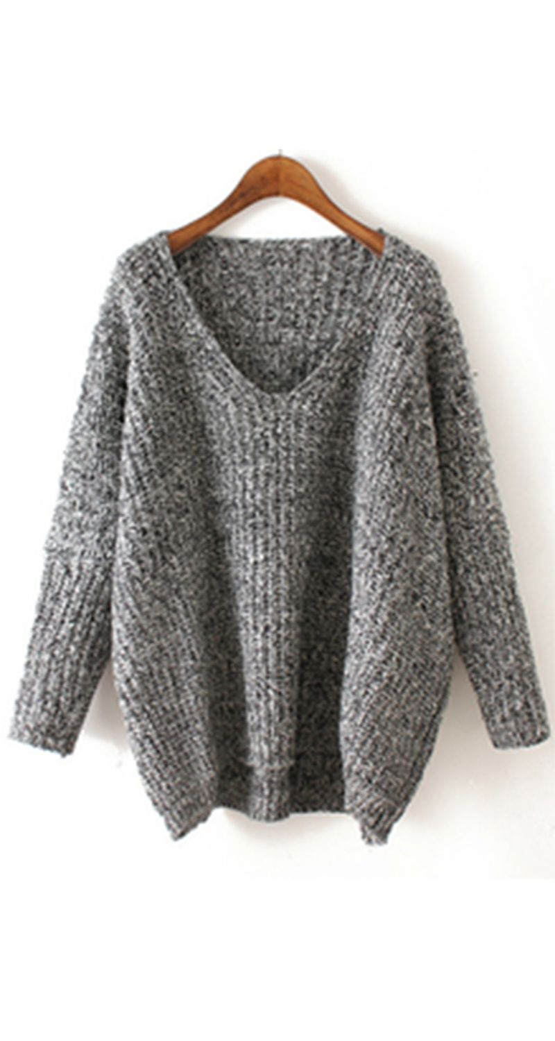 V Neck Chunky Knit Grey Dolman Sweater .♥♥ Time to pulled into ...