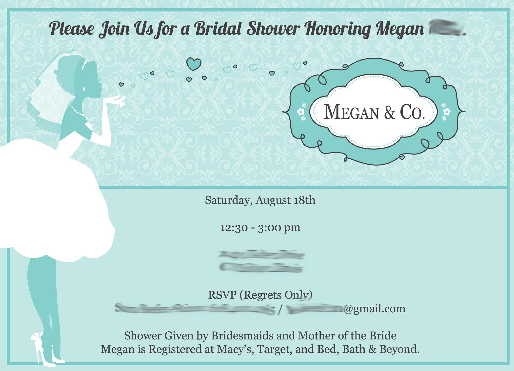 Breakfast At Tiffany's Bridal Shower Invitations Google Search: Wedding Shower Invitations Wording Formal At Reisefeber.org