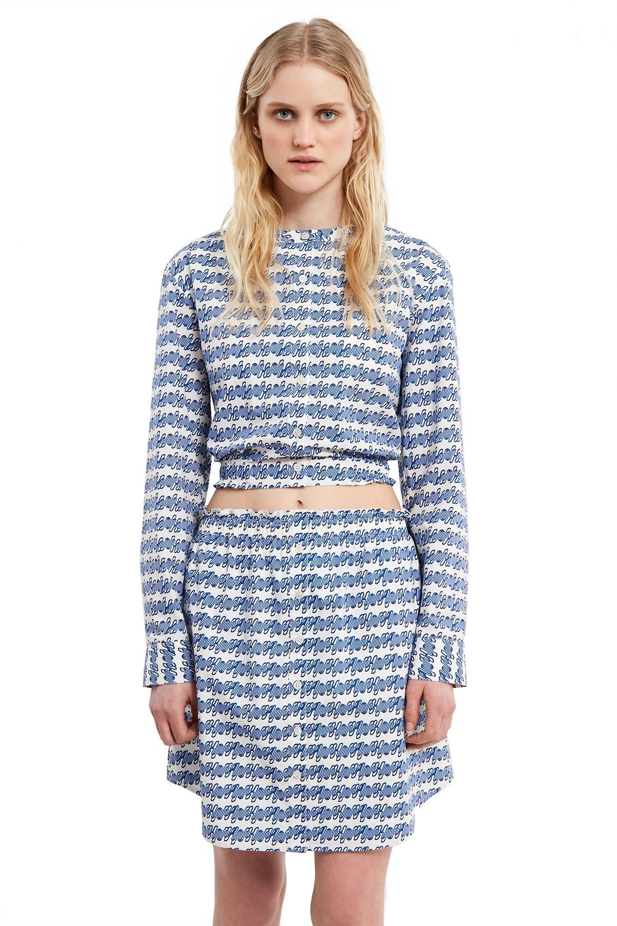 Opening ceremony printed cropped longsleeve buttondown blue