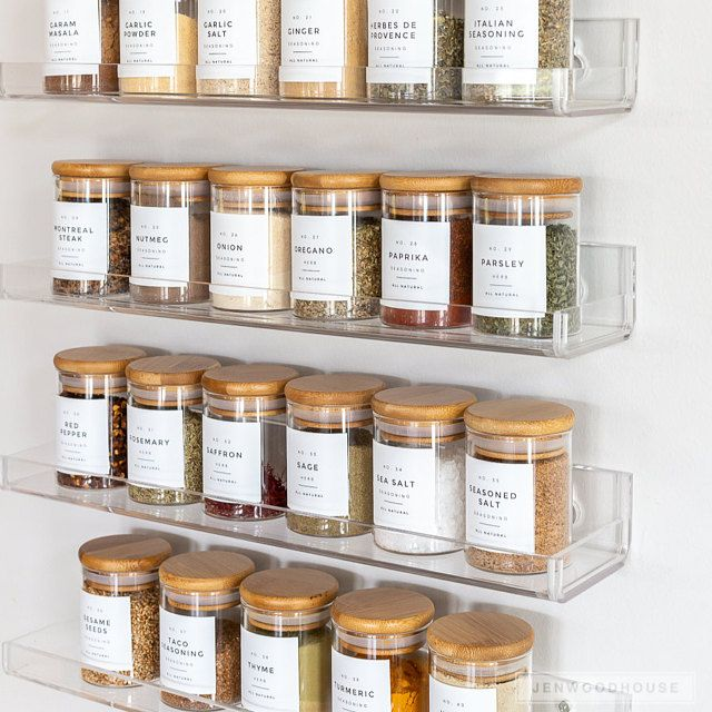Modern Pantry Labels • Customization Available • Durable, Water & Oil Resistant • Square or Round, fits Mason Jars