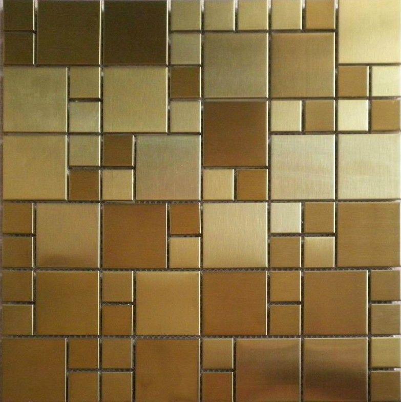 Brushed Gold Metal Mosaic Pattern Smmt026 Stainless Steel Wall Tiles Backsplash Metallic Tile