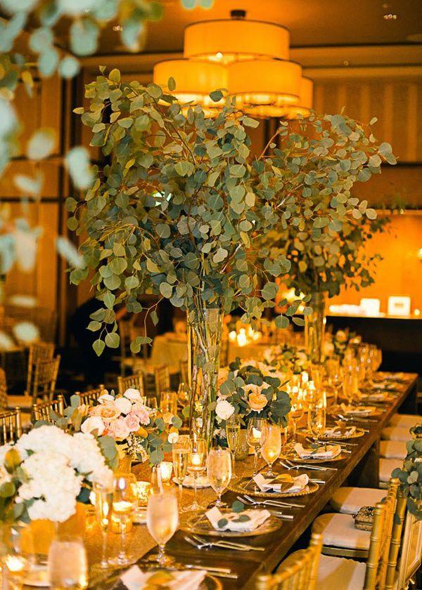 eucalyptus centerpiece - photo by Cyn Kain Photography http://ruffledblog.com/boho-glam-wedding-in-colorado