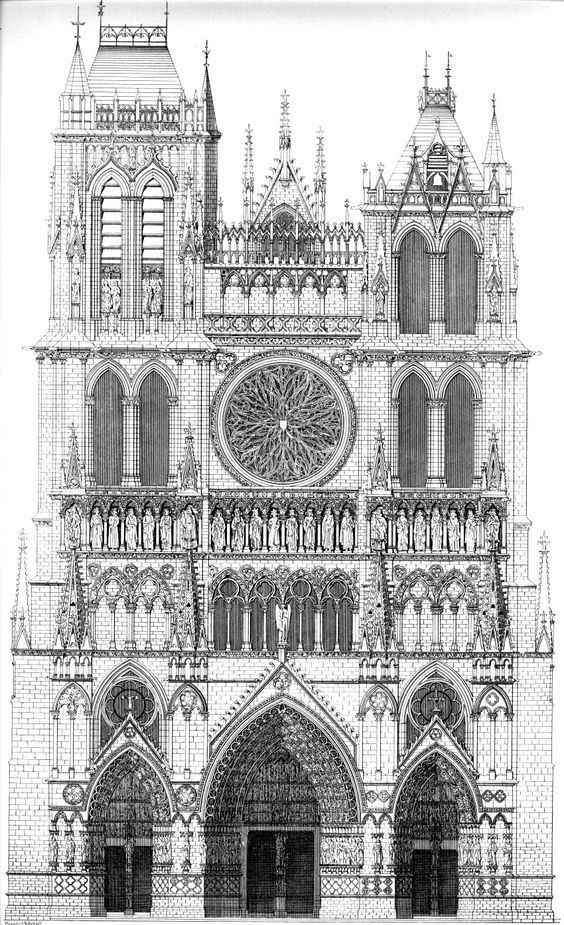 Architectural Drawing Of Amiens Cathedral France Begun 1220