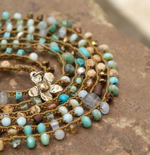 "Crochet multi 7 wrap bracelet necklace - boho long 45"" beachy turquoise earthy semi precious jewelry"