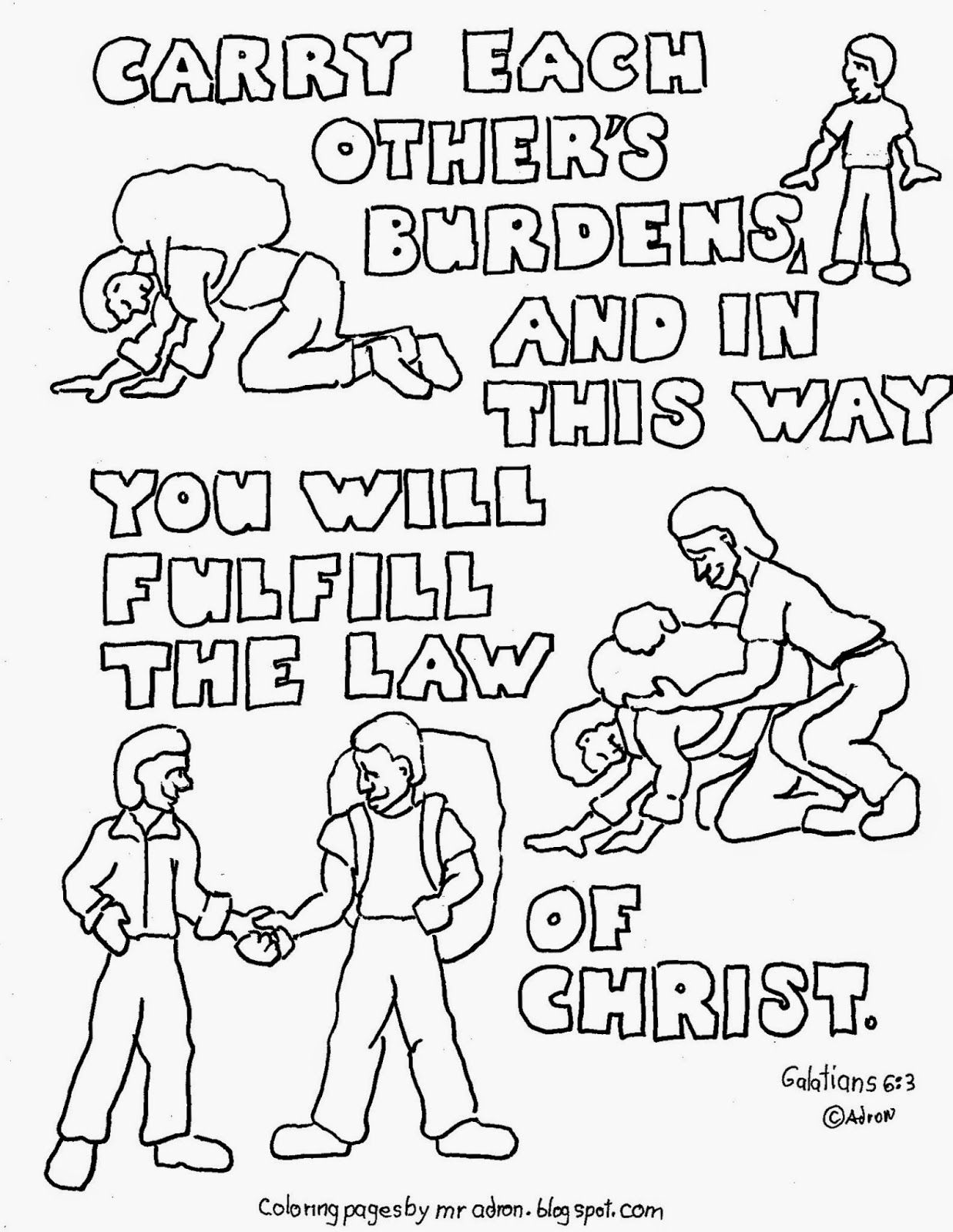 Coloring Pages For Kids By Mr Adron Carry Each Others Burdens Galatians 6 2 Printable Coloring Bible Verse Coloring Page Bible For Kids Bible Verse Coloring