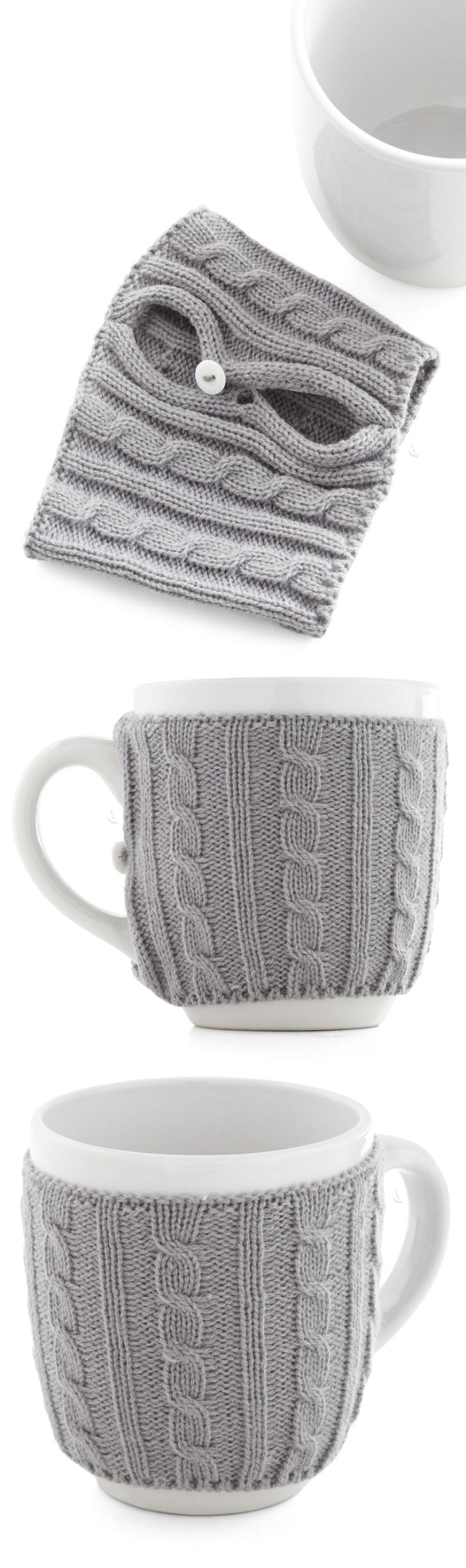 Snug mug - a coffee cup with a sweater! Keeps your tea warm #product_design