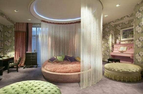 Love The Round Bed In The Middle Of The Room With So Much Space Around It Kids Room Design Awesome Bedrooms Bedroom Design