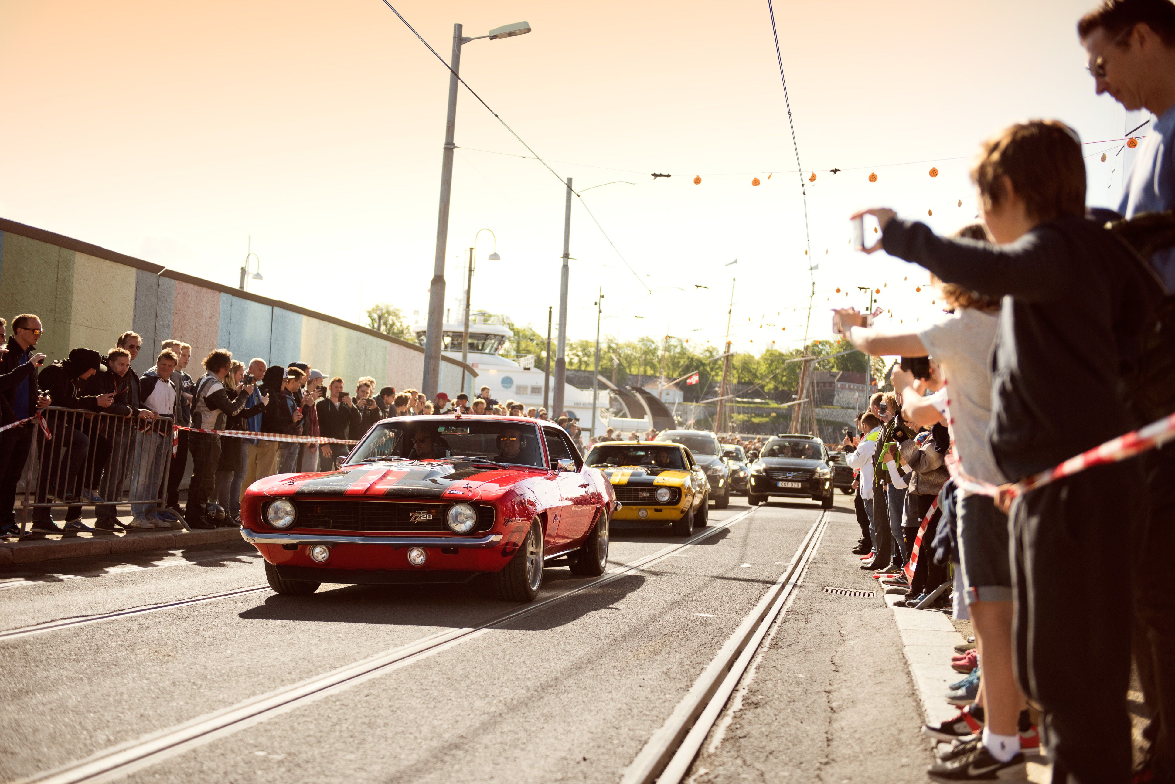 Our '69 Z/28 Camaros at the Gumball 3000 rally. #DreamCars #AmericanMuscle
