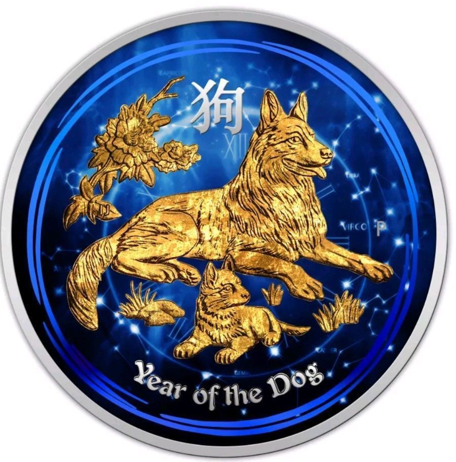 2018 1 2 Oz Silver Australia Lunar Year Of The Dog Coin 24kt Gold Box And Coa Dog Years Lunar Year Coin Design