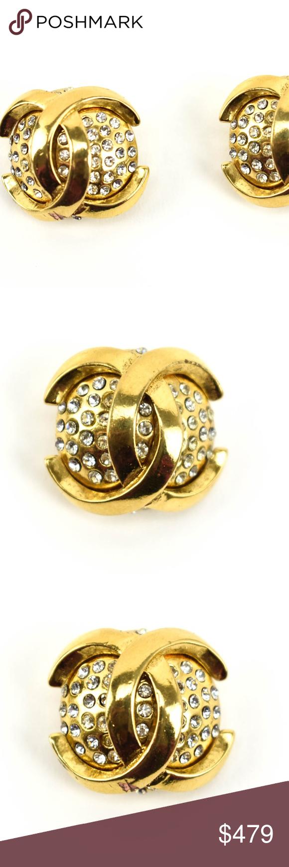 CHANEL Gold Metal Swarovski CC Logo Earrings qt Yellow