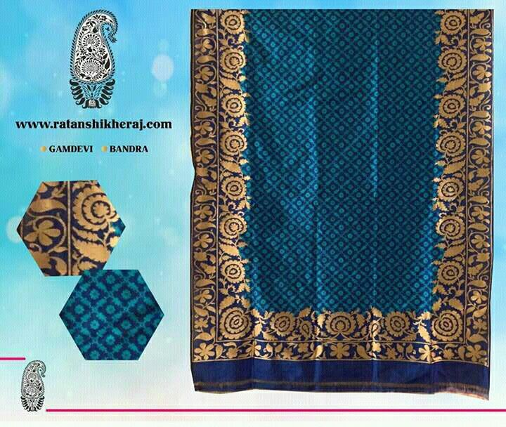 Navy blue pure silk jamdani Patola saree with such beautiful border design is 6 yards of royal glory. ‪#‎BanarasiSilkSarees‬‪ #‎BanarasiSarees