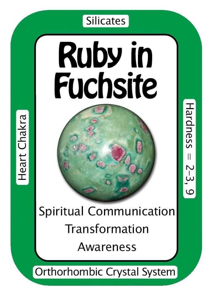 """Ruby in Fuchsite, """"I easily receive loving communication from other dimensions."""" The combination of Ruby and Fuchite help to deepen compassion, understanding and acceptance, leading to a more balanced and tranquil state of being. Code HCPIN10 = 10% discount Ruby in Fuchsite: www.healingcrystals.com/advanced_search_result.php?dropdown=Search+Products...&keywords=ruby+fuch Crystal Cards: www.healingcrystals.com/Crystal_Information_Cards___Oracle_Decks_1__2_and_3.html"""