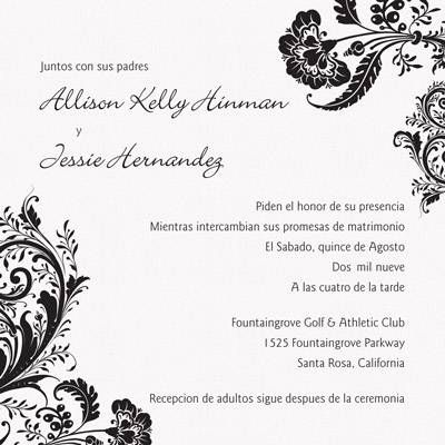 Spanish Wording Spanish Wedding Invitations Wedding Invitation