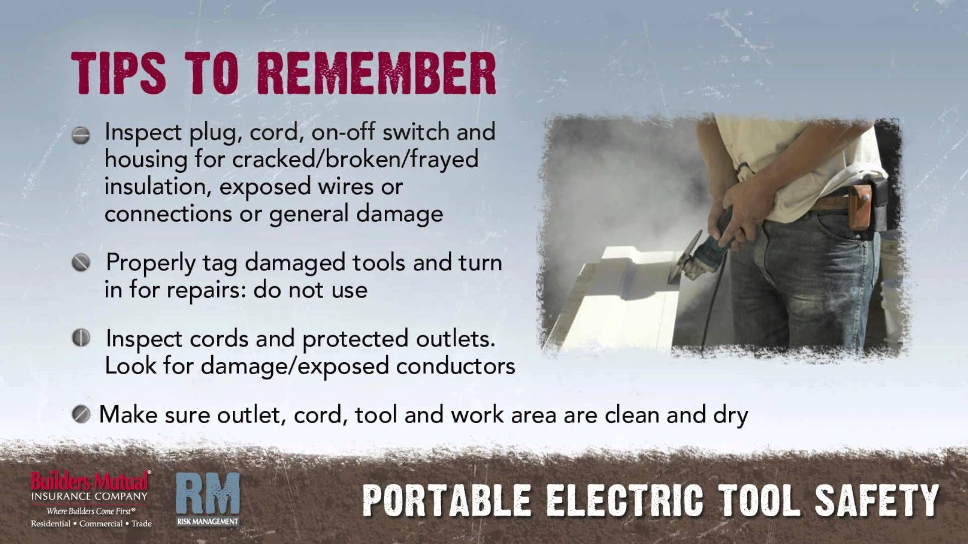 Toolbox Talk Portable Electric Tools Electric tools