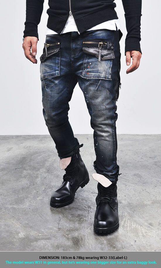 Bottoms :: Jeans :: Edge Zippered Cargo Baggy Skinny-Jeans 93 ...