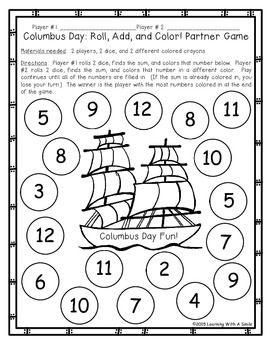 Columbus Day Math Game For Partners Free Dice Game Math Games Free Dice Games Math