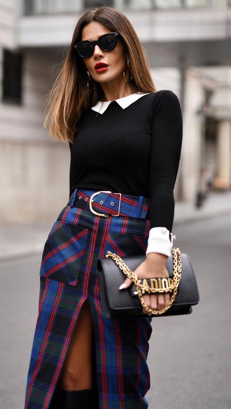 perfect outfit idea for christmas party / black top   bag   plaid skirt   boots #WomensFashionEdgy
